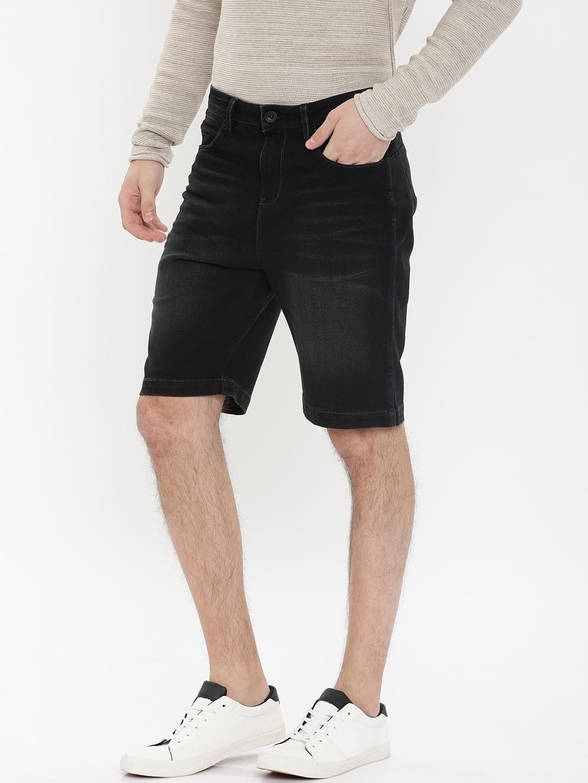 a579fe78ac Buy Wrangler Men Black Solid Slim Fit Denim Shorts - Shorts for Men ...