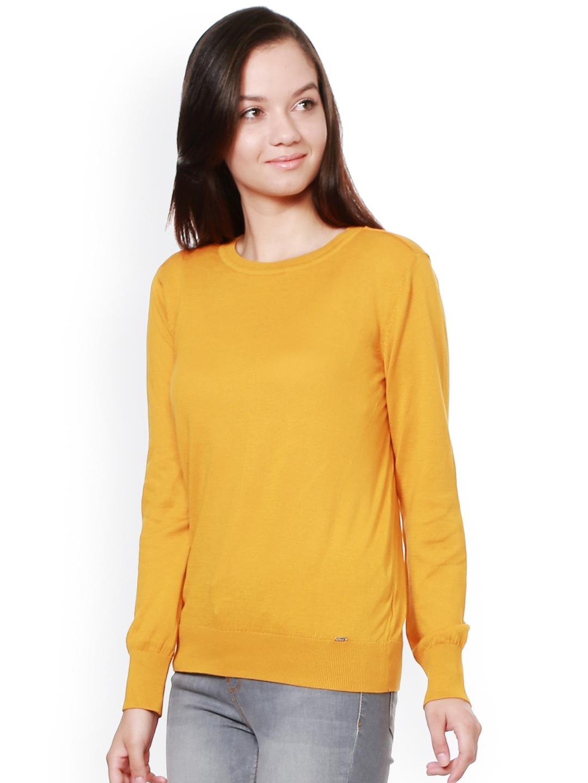 3ccb9d09b Buy Allen Solly Women Yellow Solid Sweatshirt - Sweatshirts for ...
