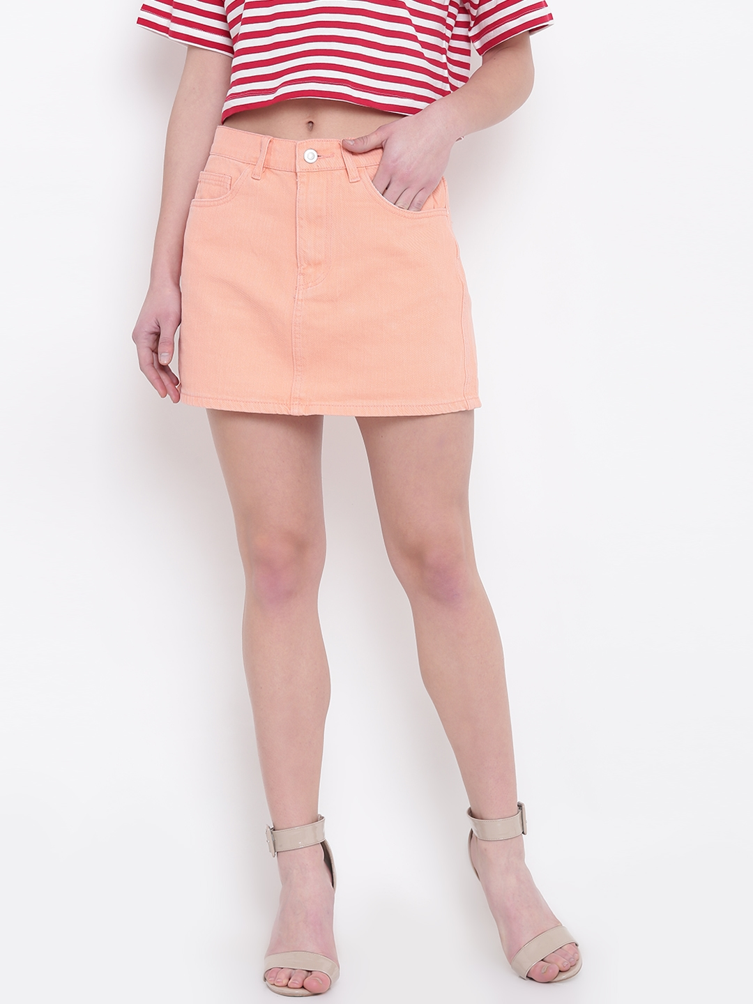 141e5e3e8 Buy FOREVER 21 Peach Coloured Denim Mini A Line Skirt - Skirts for ...