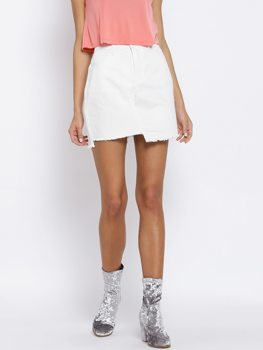 1e3577e8cd975 Buy FOREVER 21 White Denim Mini Skirt - Skirts for Women 2360500 ...
