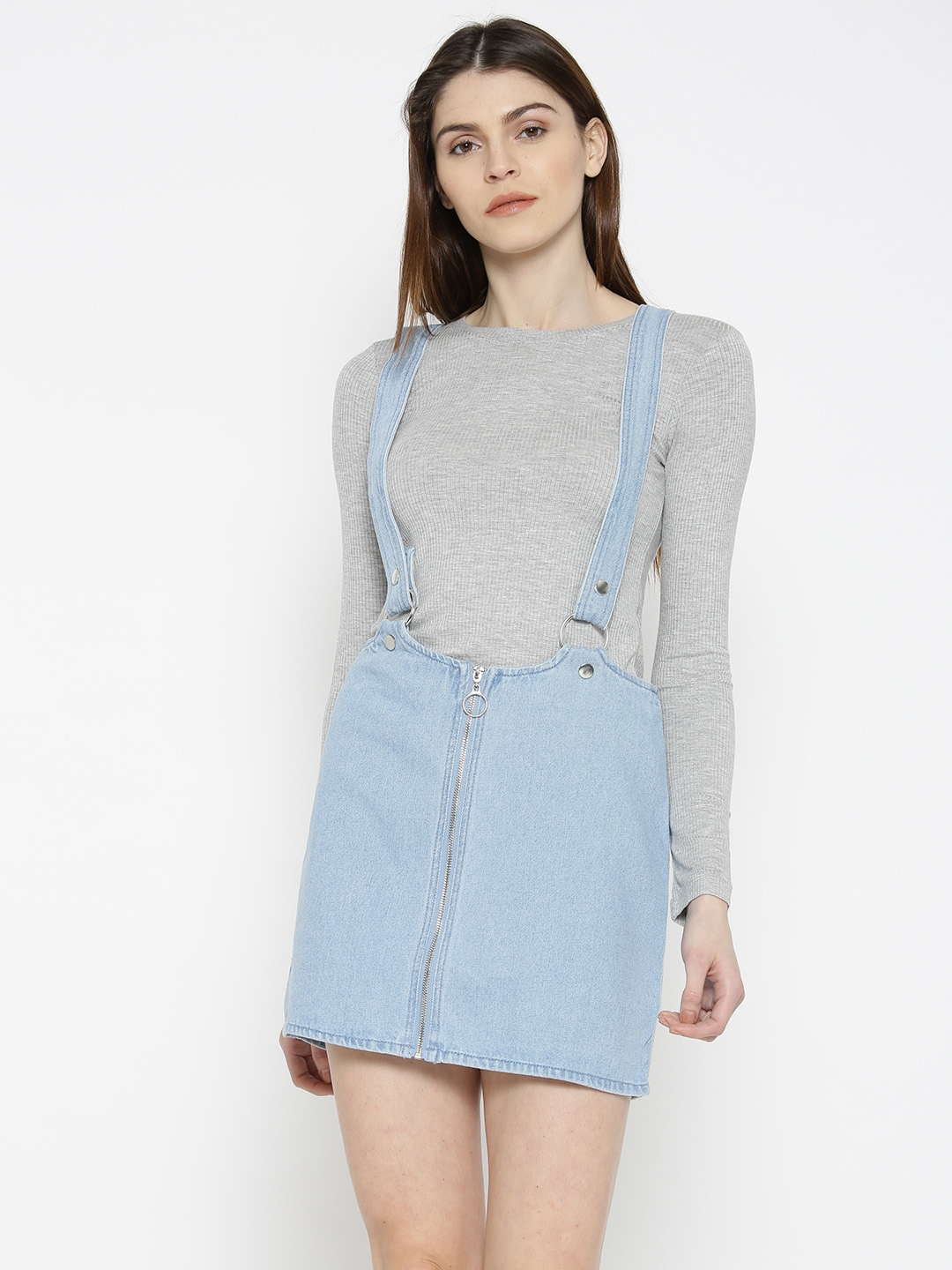53a9edc68f Buy FOREVER 21 Blue Denim Pencil Skirt With Suspenders - Skirts for ...