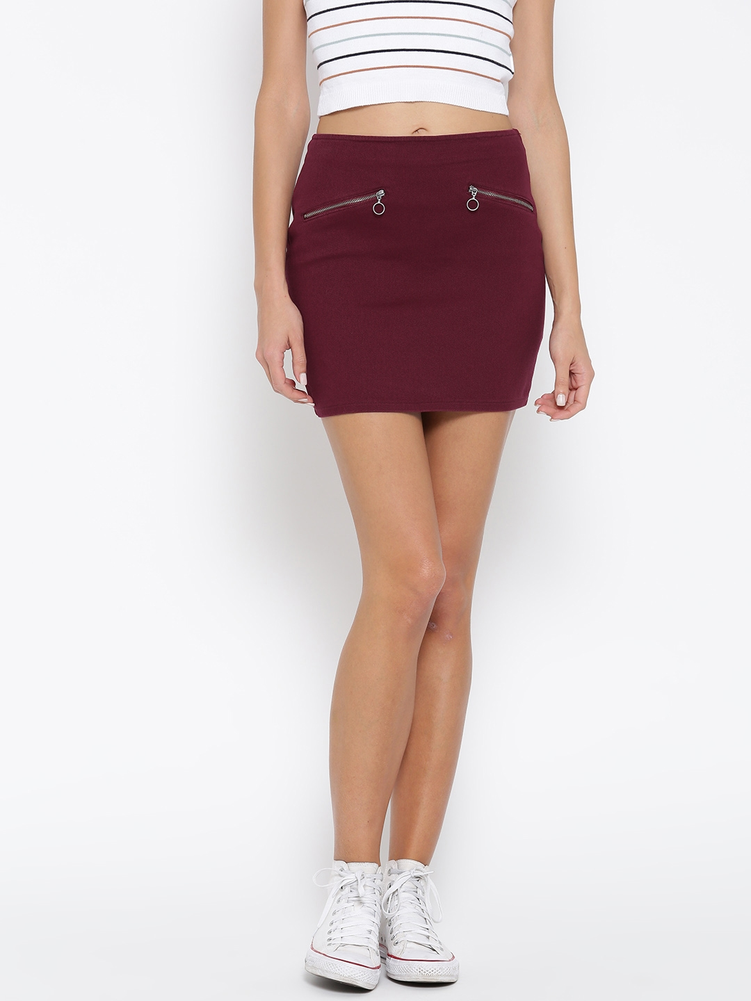1d5a8b52a Buy FOREVER 21 Burgundy Denim Mini Skirt - Skirts for Women 2360558 ...