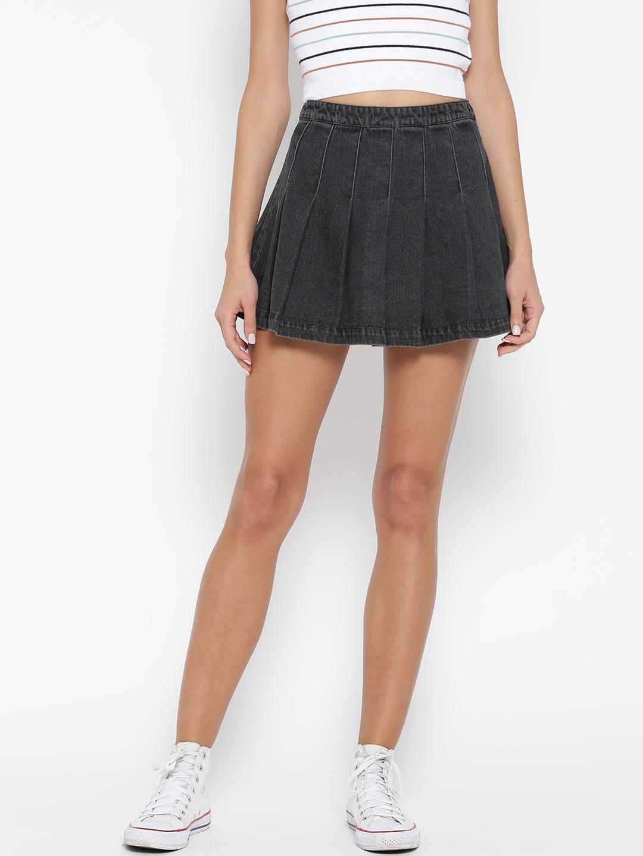 a4beb25baf Buy FOREVER 21 Grey Pleated Denim Mini A Line Skirt - Skirts for ...