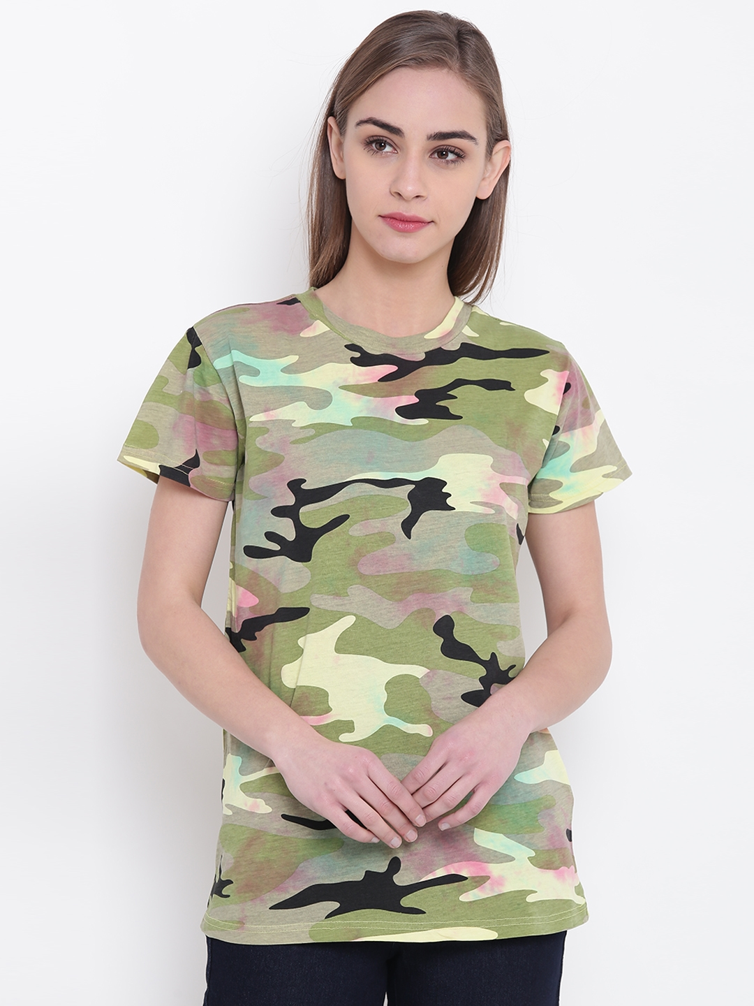 007c2dbfcf Camo Print T Shirt Source · Buy FOREVER 21 Women Olive Green   Black Camouflage  Print Round Neck