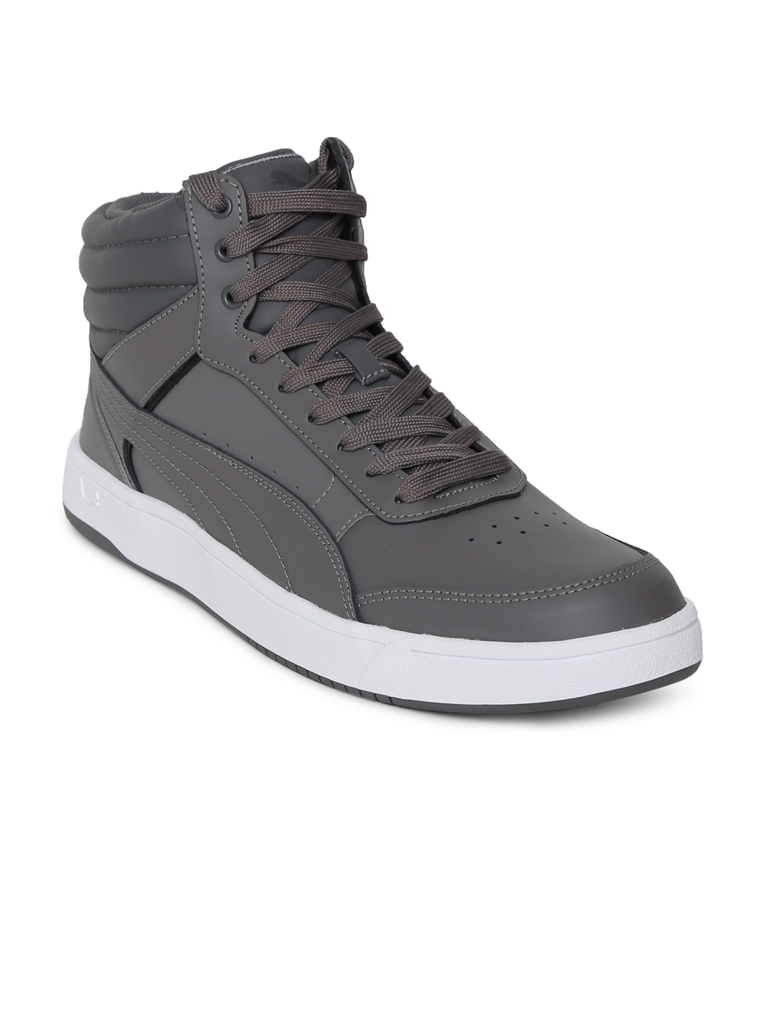 cf8b9b2ac69 Puma Men Grey Solid Leather Rebound Street v2 L IDP High-Top Sneakers