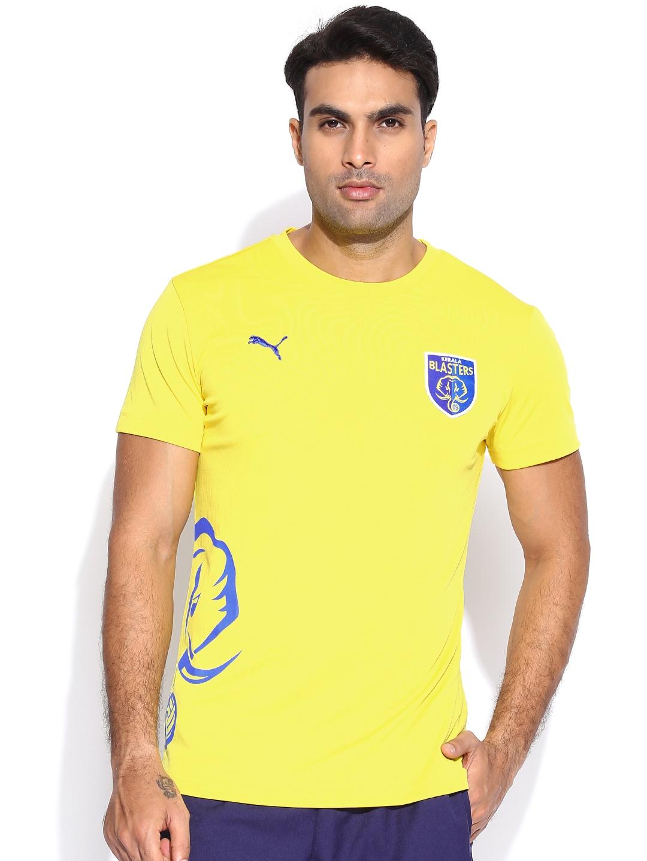 308f26a4bf3f Buy Puma Men Yellow Kerala Blaster Replica Solid Round Neck T Shirt ...