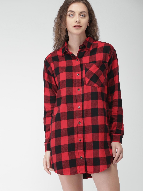 733614806ebbb Buy FOREVER 21 Women Red & Black Checked Shirt Dress - Dresses for ...