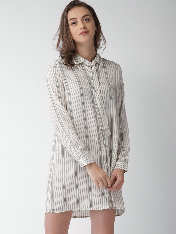 83566292624 Buy FOREVER 21 Women Cream Coloured   Black Striped Shirt Dress ...