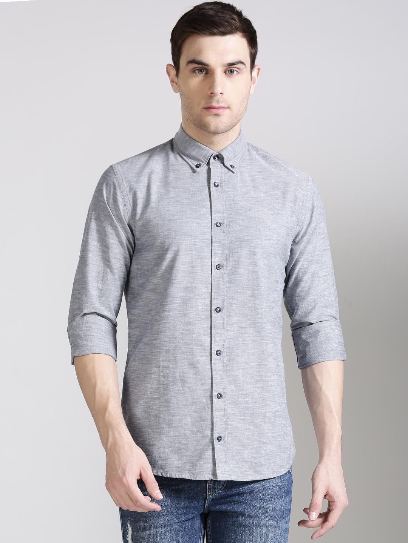 d49992f5 Buy BOSS Orange Men Grey Slim Fit Solid Casual Shirt - Shirts for ...