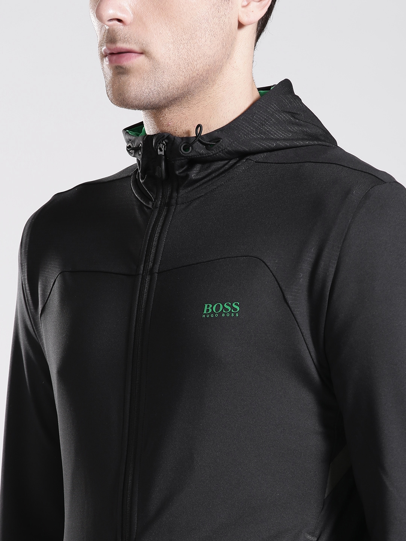 59fd39342cc1 Buy BOSS Green Men Black Solid Hooded Sporty Jacket - Jackets for ...