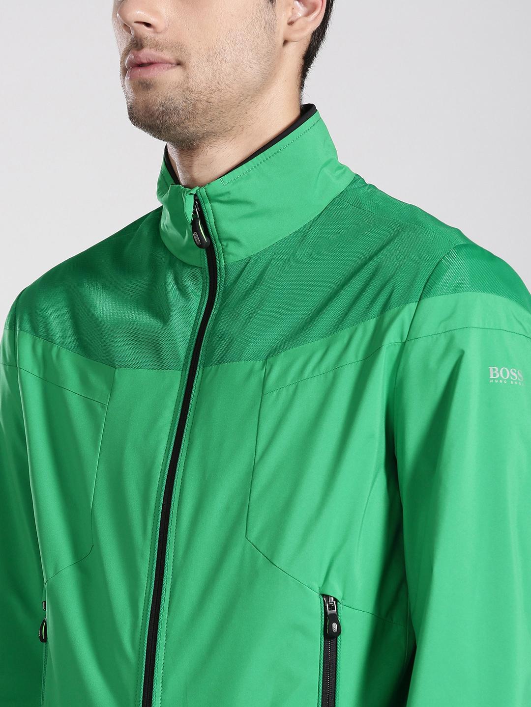 f37e69b6ce31 Buy BOSS Green Men Green Solid Bomber Jacket - Jackets for Men ...