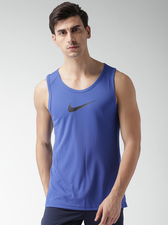 1b748df0610db Buy Nike Men Blue Solid M NK DRY TOP SL CROSSOVER BB Basketball T ...