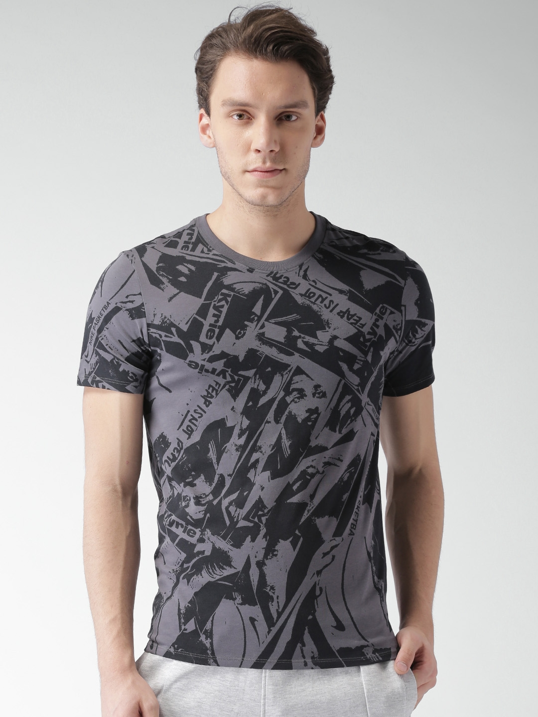 f36f8011 Nike Men Grey & Black Printed Round Neck AS M NK DRY TEE DF KYRIE AOP T- shirt
