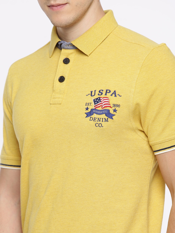 56fb6823 Buy U.S. Polo Assn. Denim Co. Men Mustard Yellow Solid Polo T Shirt ...