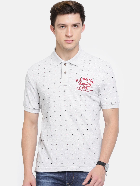 45eaaf2ce Buy U.S. Polo Assn. Denim Co. Men Grey Printed Polo Collar T Shirt ...