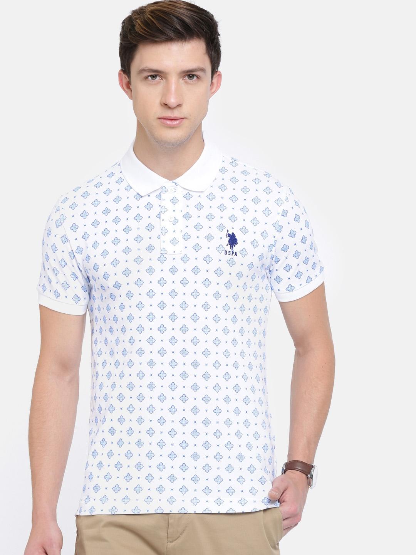 c29dbb04 Buy U.S. Polo Assn. Men White Printed Polo Collar T Shirt - Tshirts ...