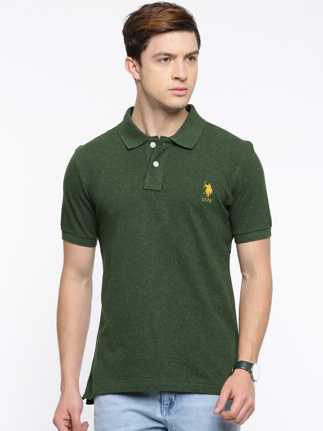 2b9a92f88f5575 Buy U.S. Polo Assn. Men Olive Green Solid Polo T Shirt - Tshirts for ...
