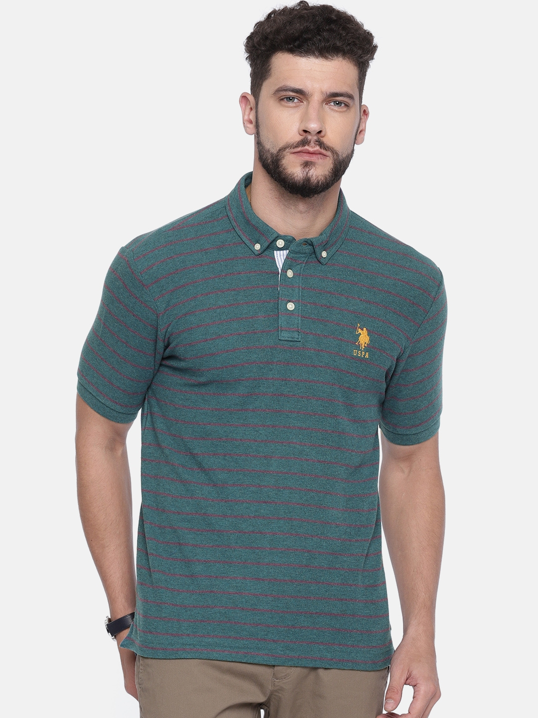 f63667f8d Buy U.S. Polo Assn. Men Teal Blue Striped Polo Collar T Shirt ...