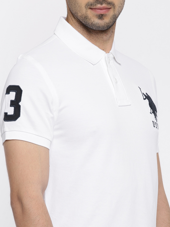 Buy U S Polo Assn Men White Solid Polo Collar T Shirt Tshirts