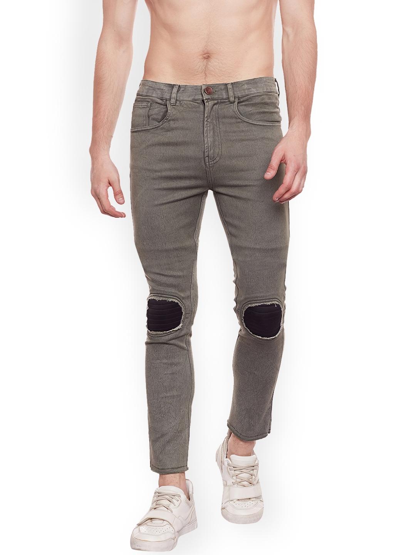 1a0a0478 FUGAZEE Men Olive Green & Black Lean Slim Fit Mid-Rise Low Distress Jeans