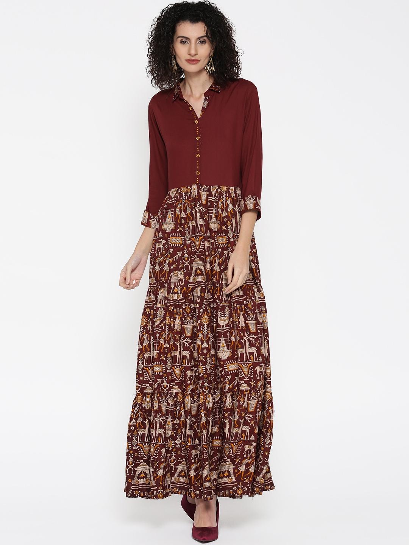 7fd7861269fd Buy Shree Women Maroon Printed Maxi Dress - Dresses for Women ...