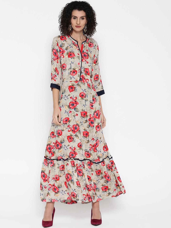 1d95a72fc0 Buy Shree Women Grey & Red Floral Print Maxi Dress - Dresses for ...