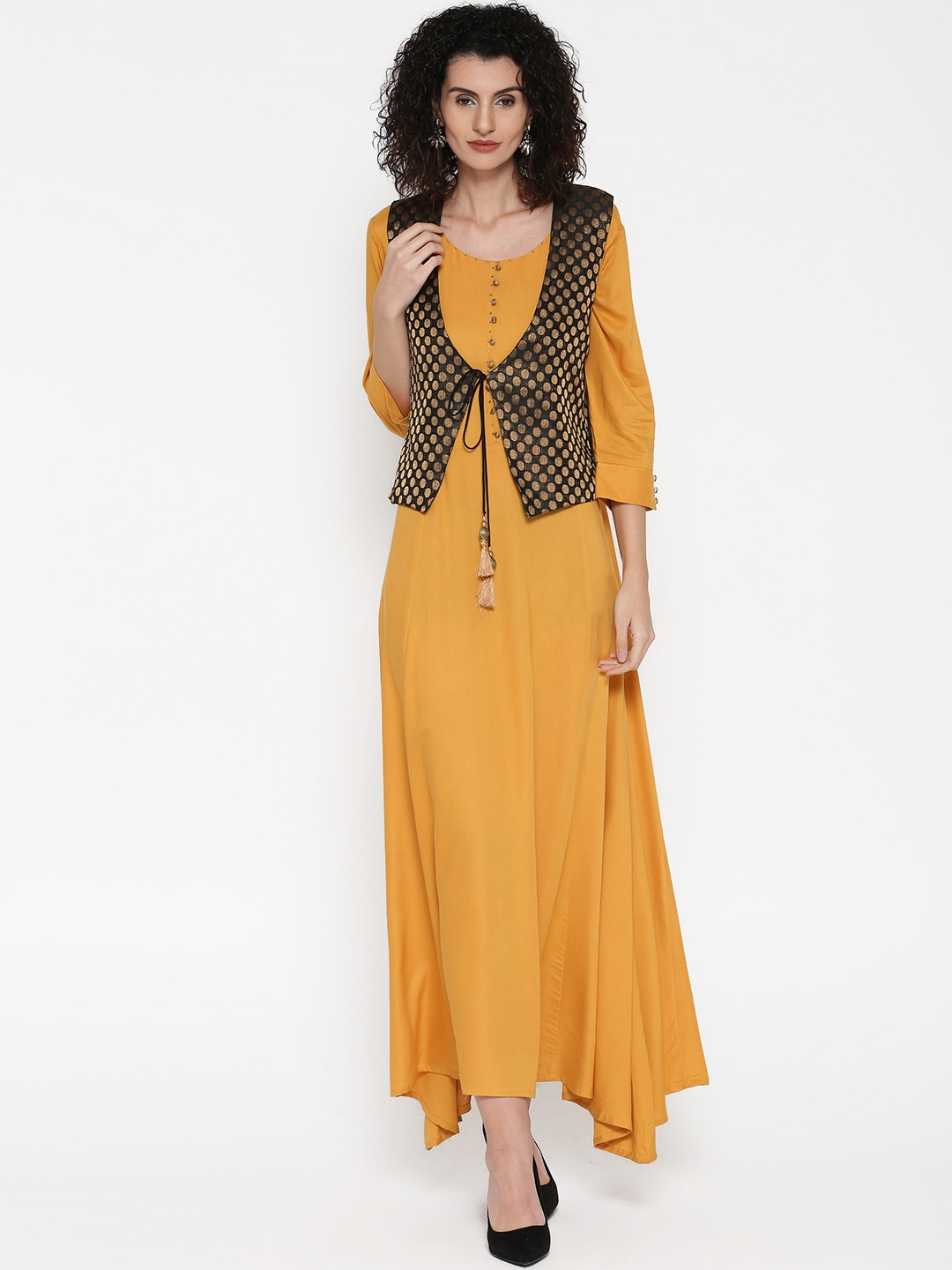 f35e0515bf2 Buy Shree Women Mustard Yellow   Black Solid Maxi Dress With Printed ...
