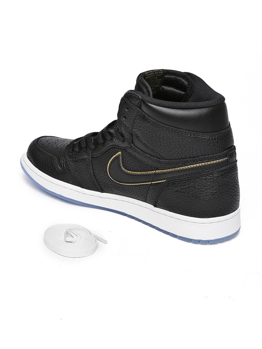 low priced 1d2fa eb40c Nike Men Black Leather High-Top AIR JORDAN 1 RETRO Basketball Shoes