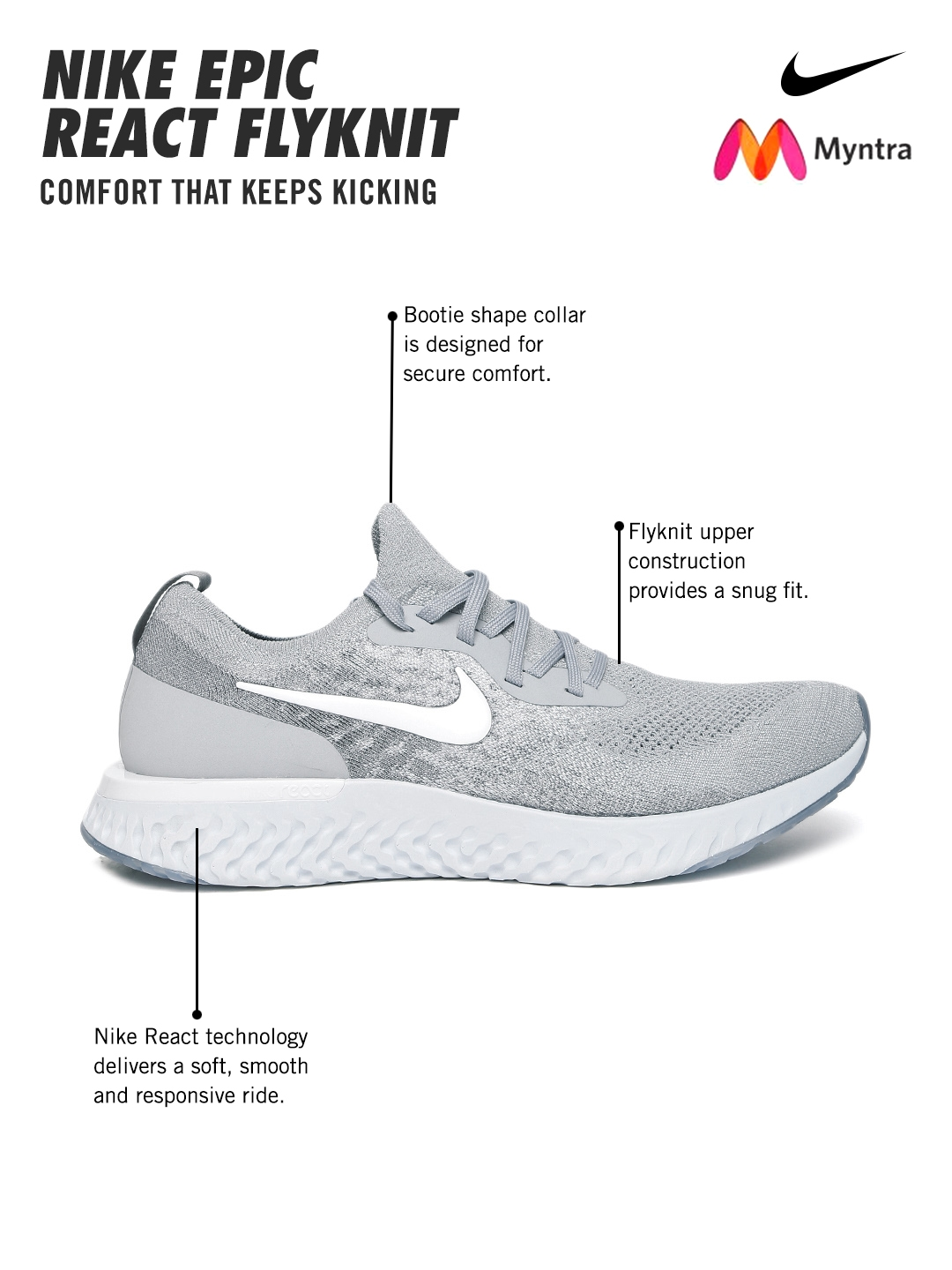 3ce98eced Buy Nike Men Grey EPIC REACT FLYKNIT Running Shoes - Sports Shoes ...
