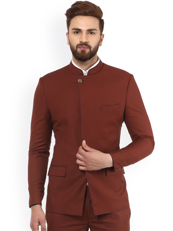0174d2a11e Buy MR BUTTON Rust Terry Rayon Bandhgala Blazer - Blazers for Men ...