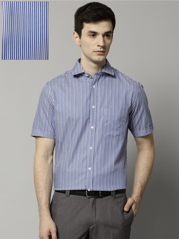 da89d53dce3a Marks & Spencer Men Blue & White Regular Fit Striped Non-Iron Formal Shirt
