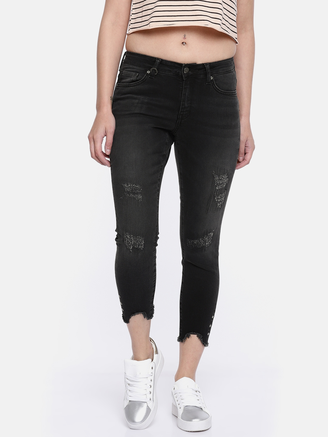 605068399 Buy ONLY Women Black Skinny Fit Low Rise Mildly Distressed Jeans ...