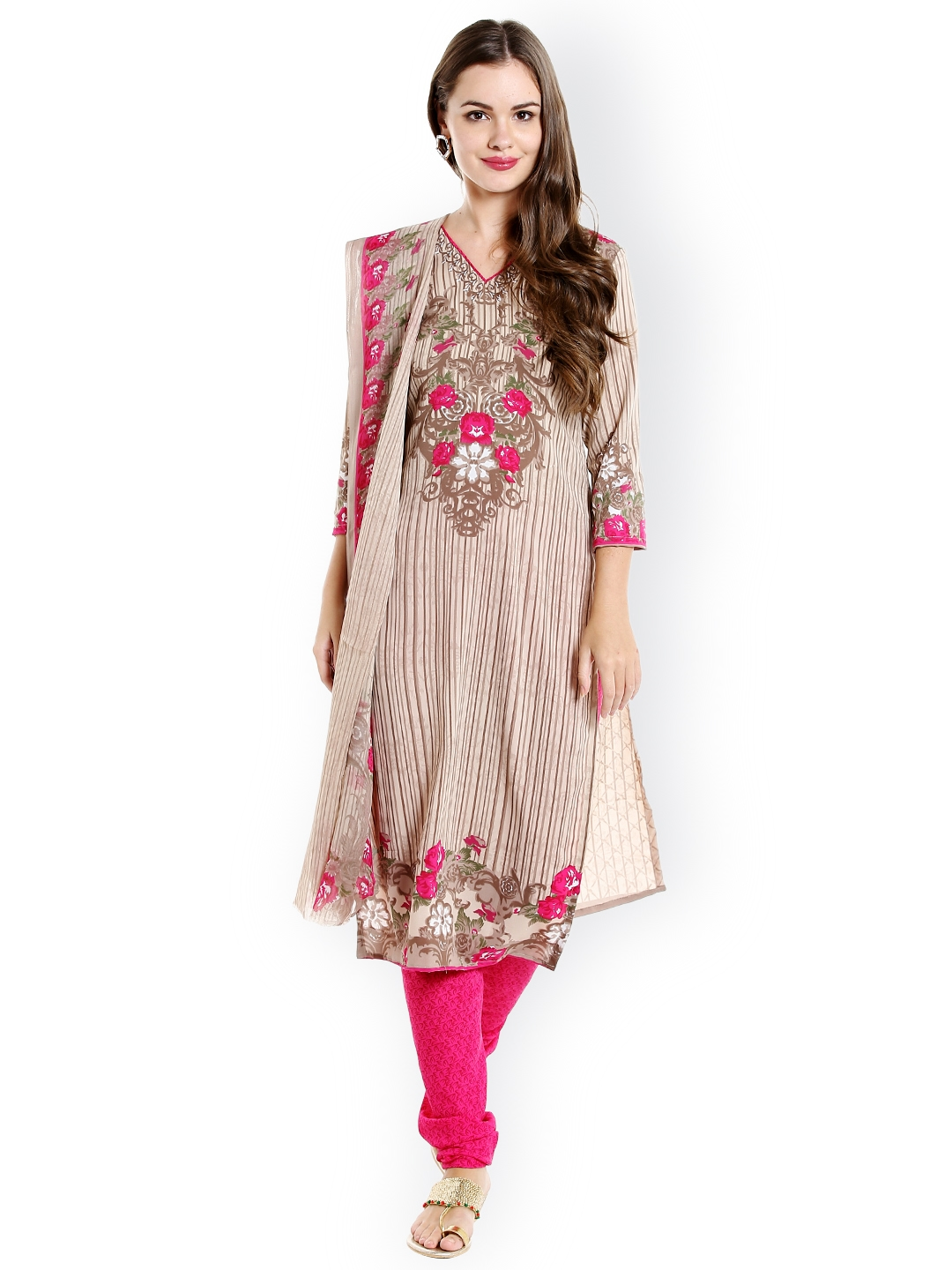 Ishin Beige   Pink Poly Crepe Unstitched Dress Material
