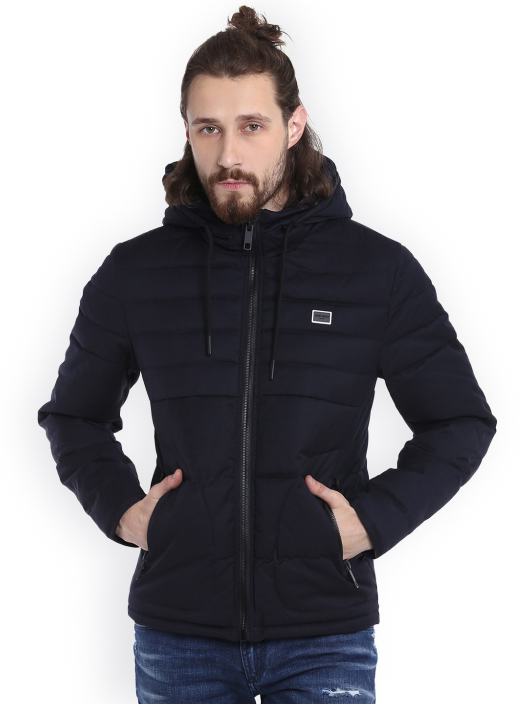 1a3ee0e18 Buy Antony Morato Men Navy Blue Solid Puffer Jacket - Jackets for ...