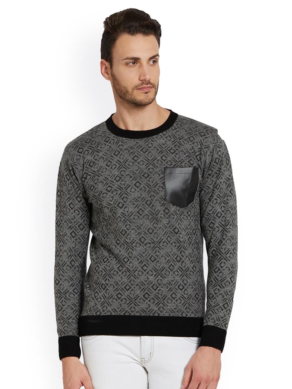 bea86f8faff Buy Globus Men Black   Grey Self Design Pullover - Sweaters for Men ...