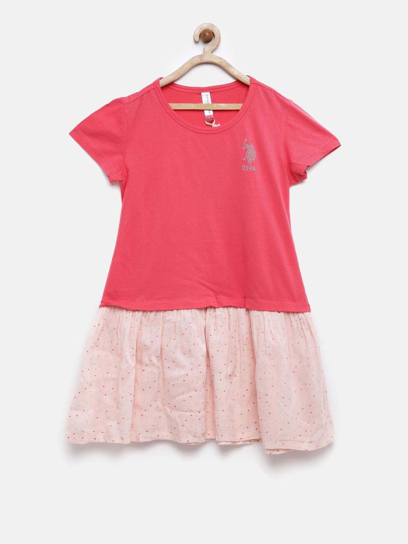 c6d4a1261e9c4 Buy U.S. Polo Assn. Kids Girls Pink Printed Drop Waist Dress ...