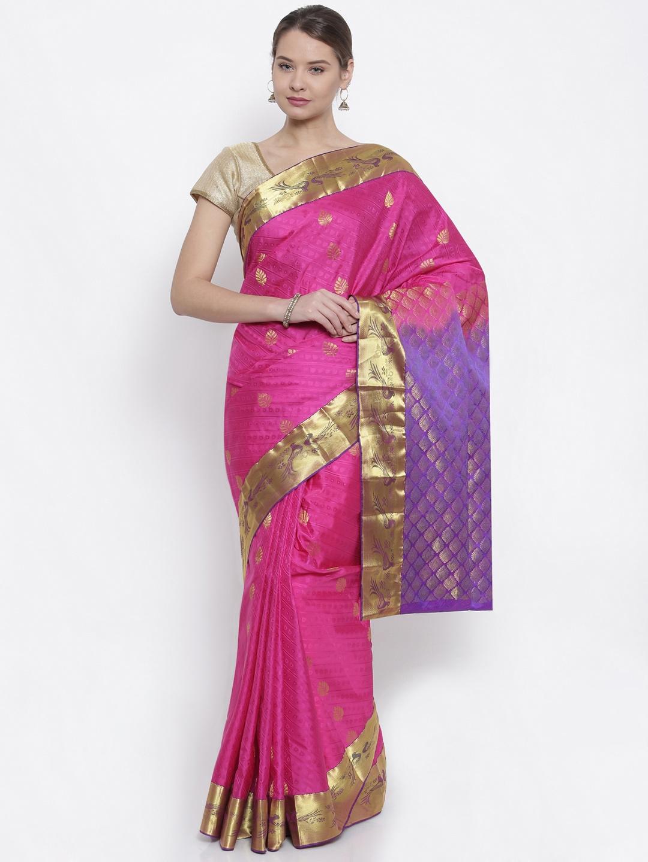 The Chennai Silks Classicate Magenta Woven Design Pure Dharmavaram Silk Saree