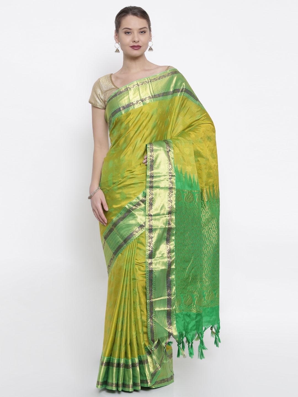 The Chennai Silks Lime Green Woven Design Pure Silk Saree