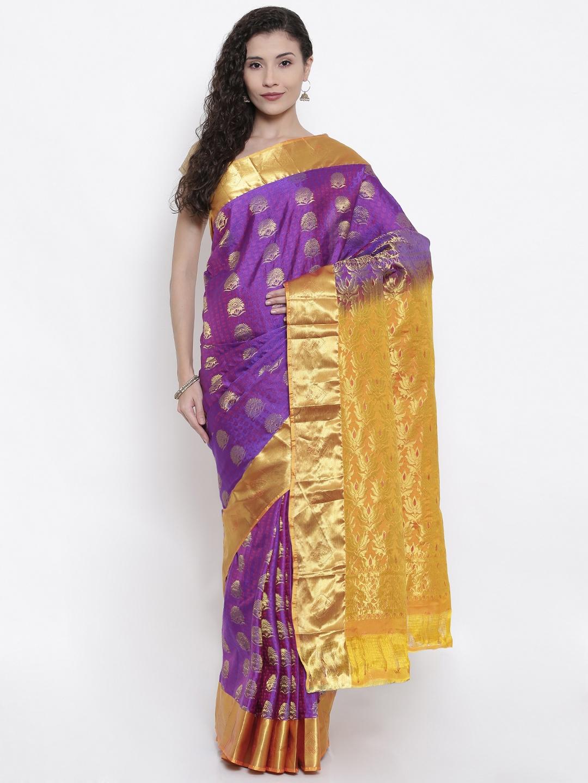 05a62c7fa4 The Chennai Silks Classicate Purple Woven Design Dharmavaram Pure Silk Saree