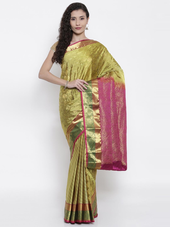 The Chennai Silks Classicate Green Woven Design Dharmavaram Pure Silk Saree