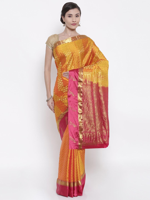 The Chennai Silks Orange Woven Design Pure Silk Saree