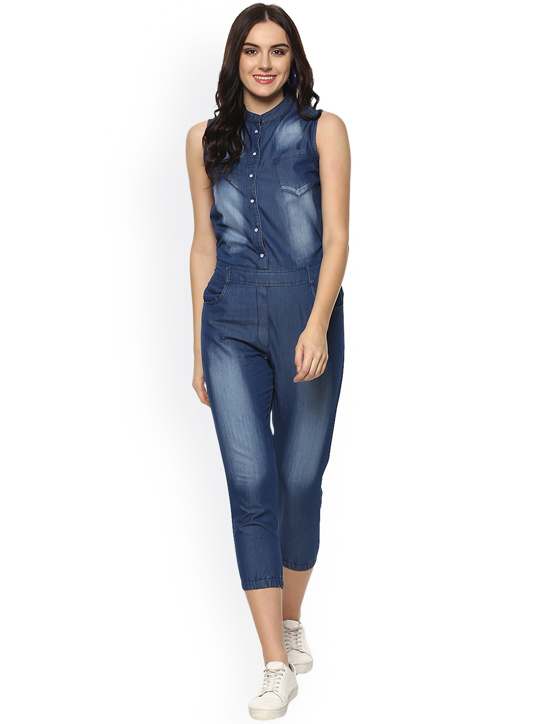 2c652ee6d34f Buy StyleStone Blue Denim Capri Jumpsuit - Jumpsuit for Women ...
