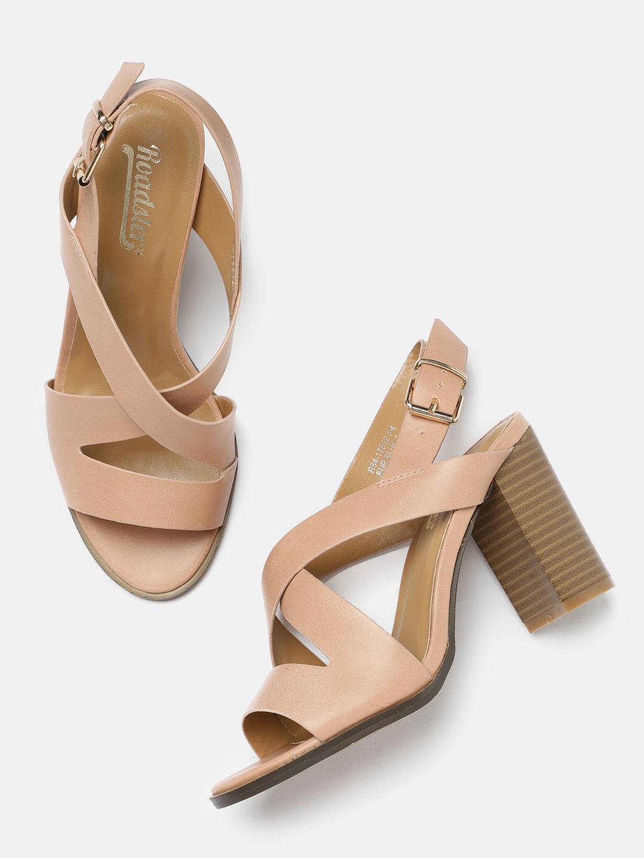 4b2c3abd7 Buy Roadster Women Pink Solid Sandals - Heels for Women 2375019