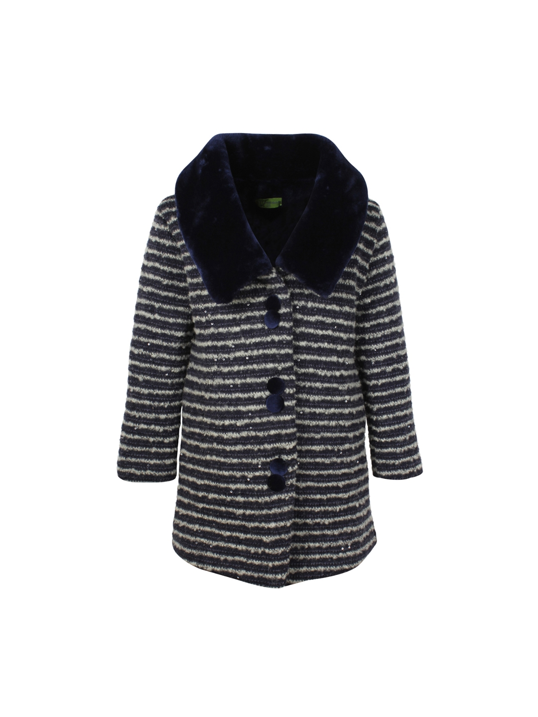 c920a0d66f52 Buy CUTECUMBER Girls White   Navy Blue Striped Fur Coat - Coats for ...