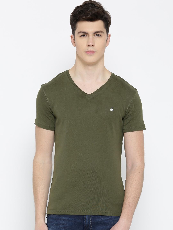 433bacff6035 Buy United Colors Of Benetton Men Olive Green Solid V Neck T Shirt ...