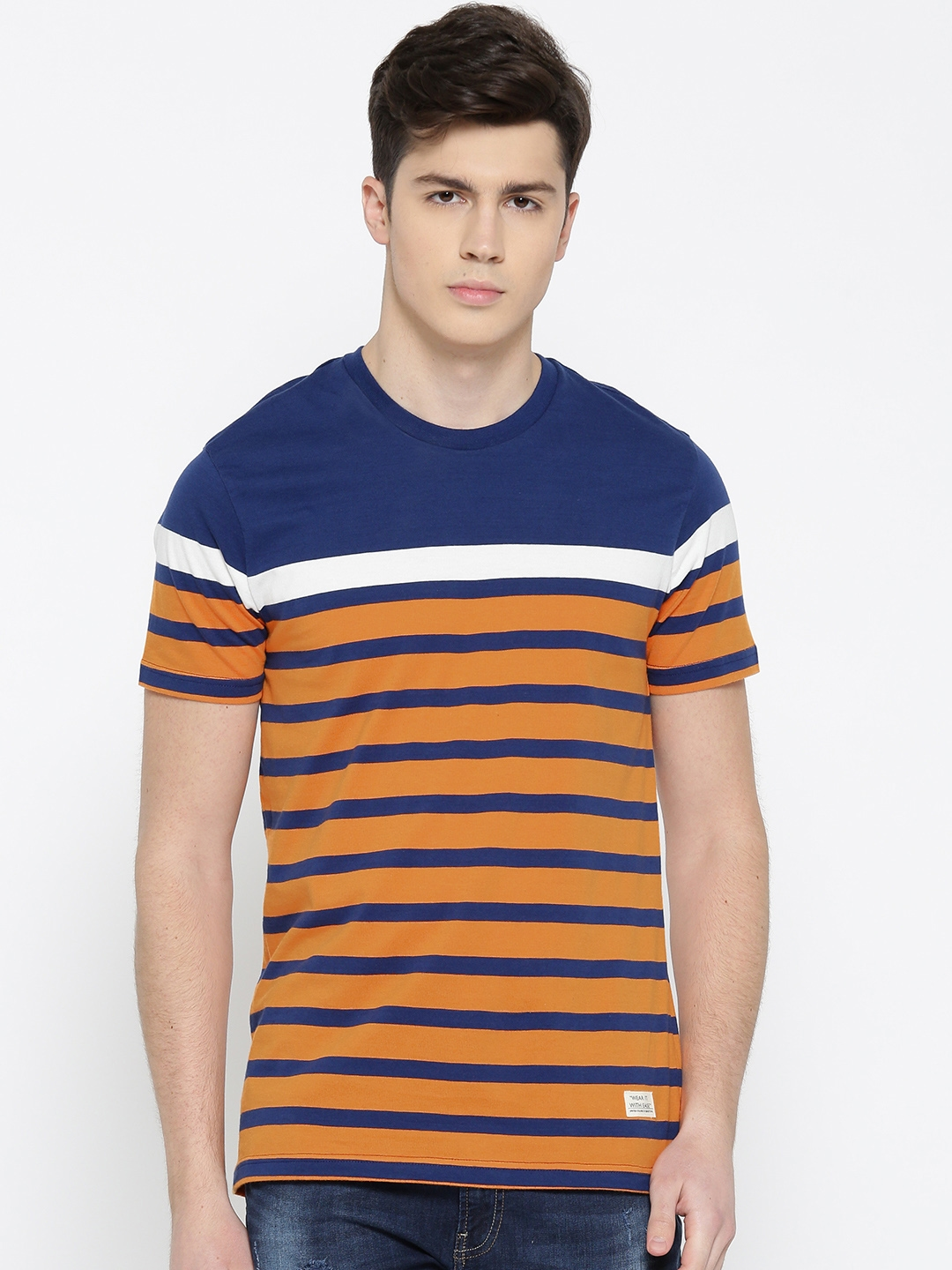 1a7db824a2 United Colors of Benetton Men Navy Blue & Orange Striped Round Neck T-shirt