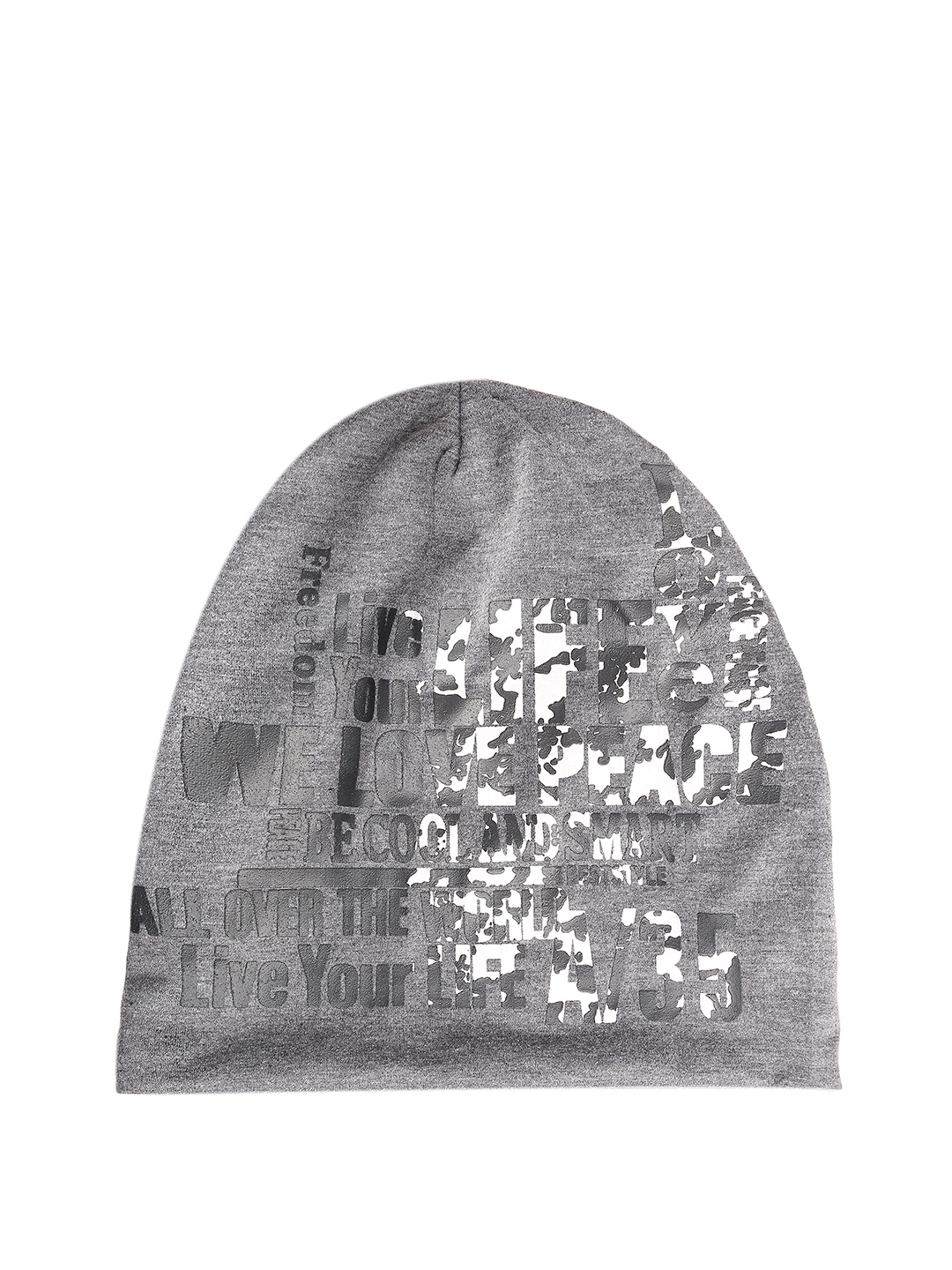 ae6c7f272a8 Buy FabSeasons Unisex Grey Printed Beanie - Caps for Unisex 2377736 ...