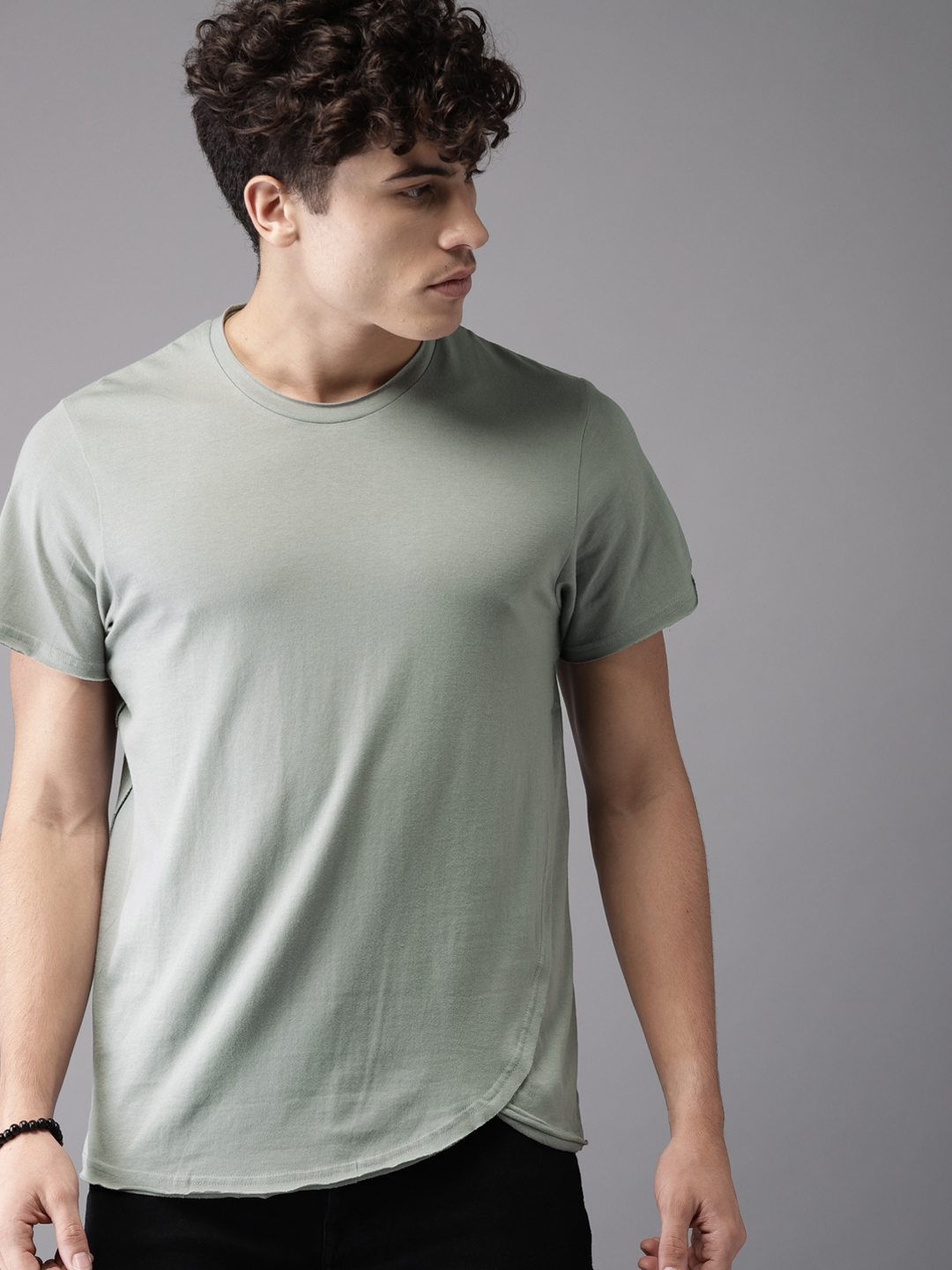 afc15b43daa1 Buy Moda Rapido Men Grey Solid Round Neck T Shirt - Tshirts for Men ...