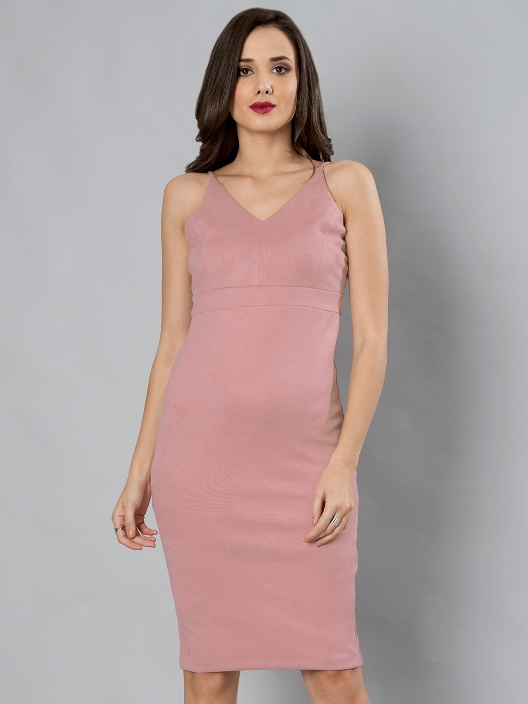 e863b7644f8a Buy FabAlley Women Pink Solid Bodycon Dress - Dresses for Women ...