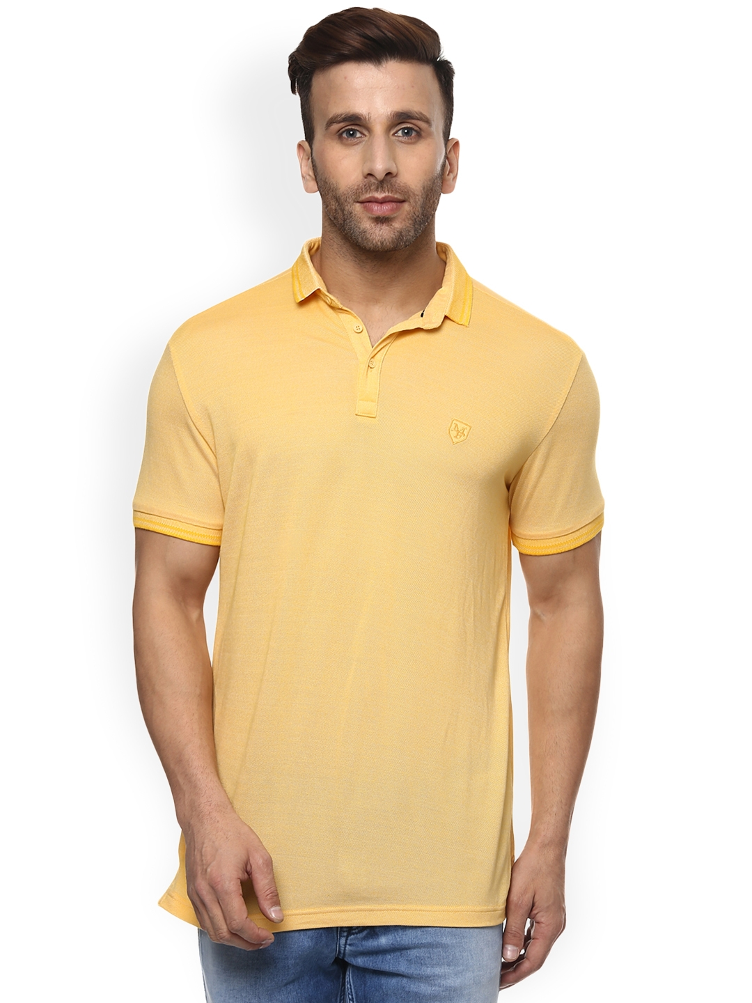 e3423bd8 Buy Mufti Men Yellow Solid Polo Collar T Shirt - Tshirts for Men ...